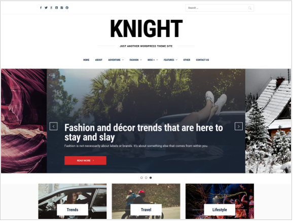 knight feminine WordPress Blog Theme