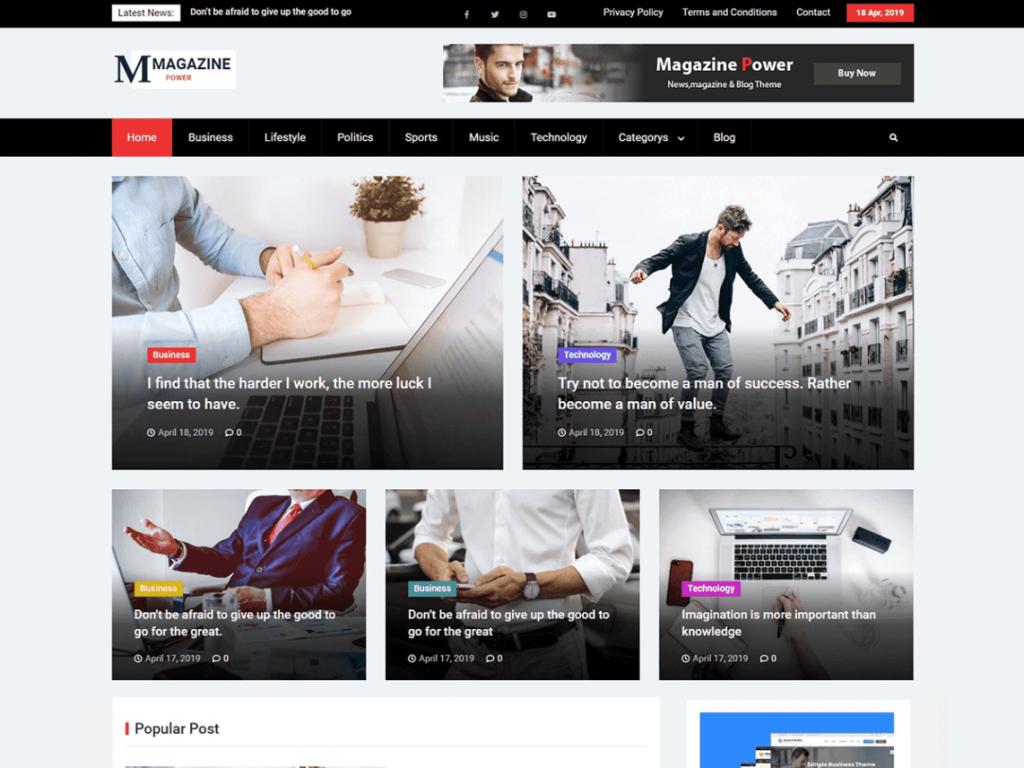 magazine power WordPress Magazine theme