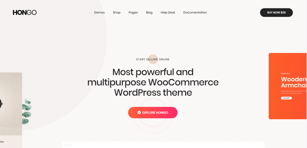 hongo  best WordPress themes for eCommerce.