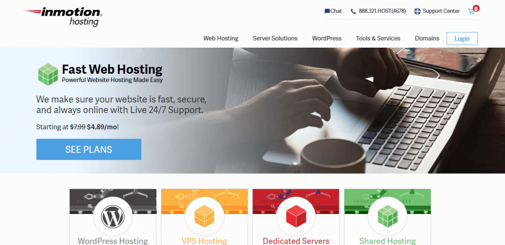 Inmotion  best hosting for WordPress Website