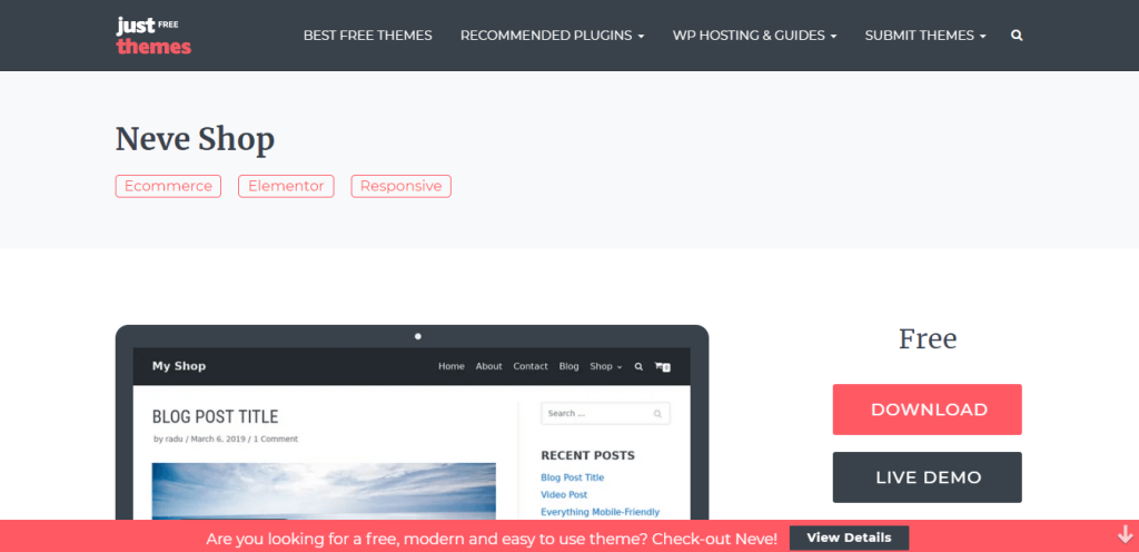 best WordPress themes for eCommerce neve shop