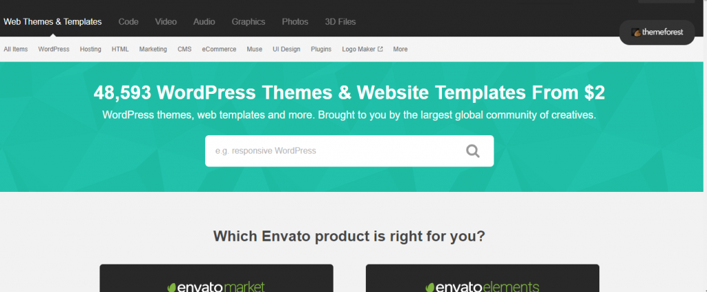 themeforest marketplaces to sell WordPress themes and plugins